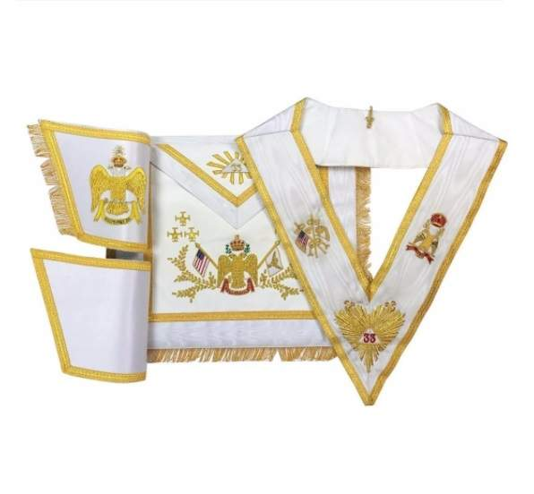 Rose Croix 33rd Degree Hand embroidered Apron Set 'WINGS DOWN' All Countries Flags
