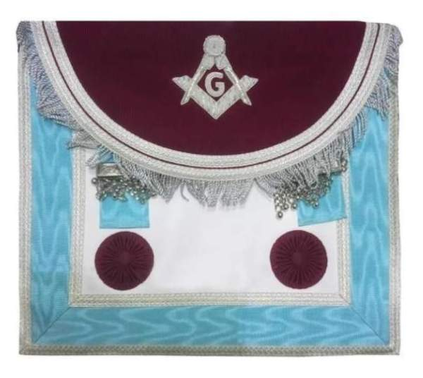 Scottish Master Mason Handmade Silver Embroidery Apron with Rosettes - Maroon and Blue