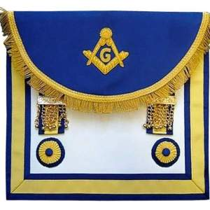 Scottish Rite Master Mason Handmade Embroidery Apron - Blue Yellow