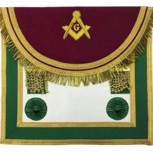Scottish Rite Master Mason Handmade Embroidery Apron - Maroon and Green