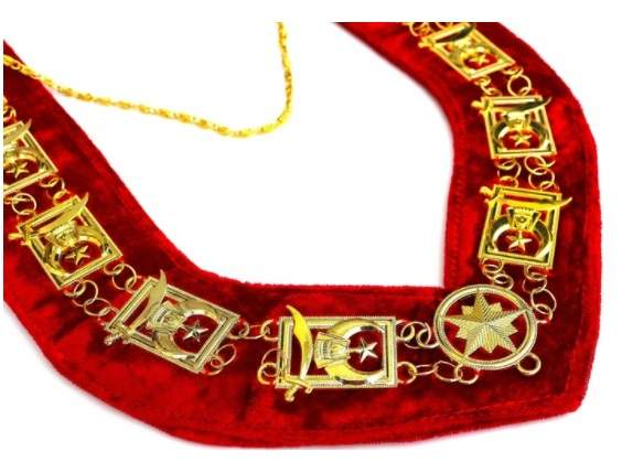 Shriner - Masonic Chain Collar - Gold Silver on Red + Free Case