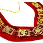 Shriner – Masonic Chain Collar – Gold Silver on Red + Free Case