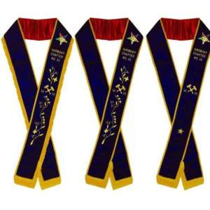 Worthy Matron - Hand Embroidered OES Purple Velvet Sashes