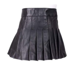 Ladies Black Leather Mini Kilt