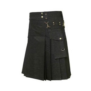 Black Denim kilt for men