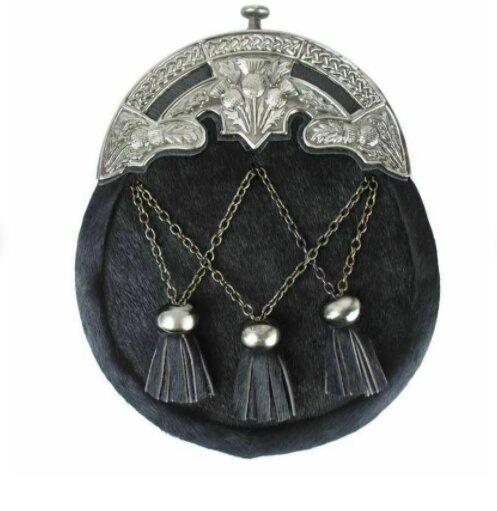 Scottish Traditional Full dress Antique Thistle Mantle Kilt Sporran & Chain Belt