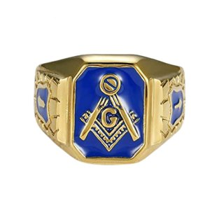 Blue Gold Tone Stainless Steel Masonic Signet Ring