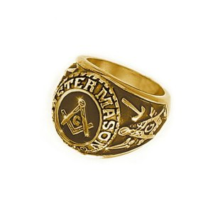 MASON GOLD COLOR FREEMASON RING STAINLESS STEEL