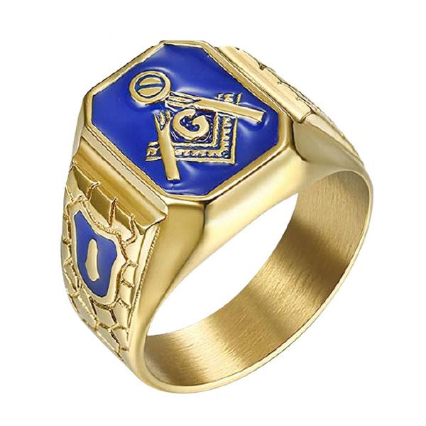 Blue Gold Tone Stainless Steel Masonic Signet Ring