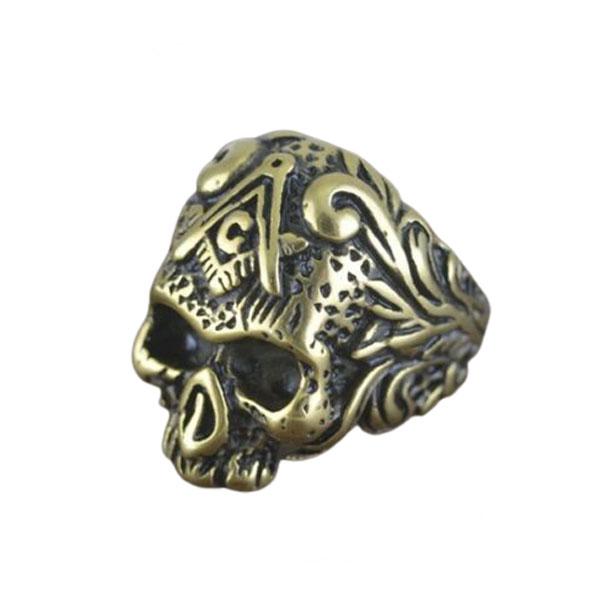 Men's Vintage Gold Plated Masonic Skull Ring Stainless Steel