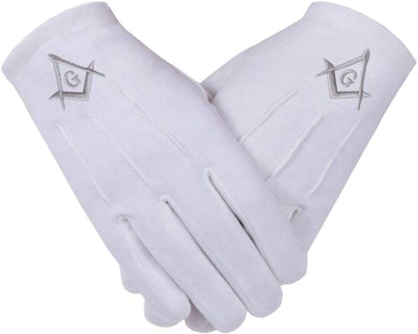 Embroidered White Gloves