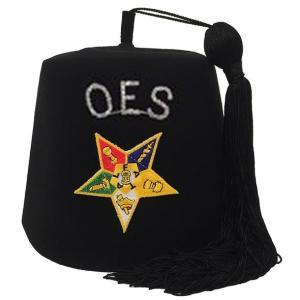 Order of the Eastern Star OES Rhinestone Black Fez