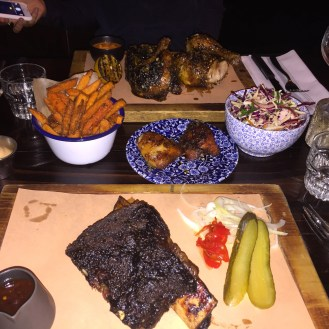 Amen's View: Beef short rib, jalepeno slaw, sweet potato fries, chicken thighs
