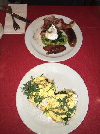 Eggs Florentine - Avocado & poached eggs, sausage and streaky bacon @ Hackney Wick branch