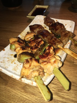 Tori (Chicken) Negima and Gyu (Beef) Skewers