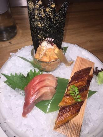 Chu toro sashimi; salmon tartar; Unagi sashimi