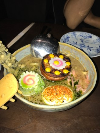 Chashu Pork Belly, Udon king oyster, ramen sauce
