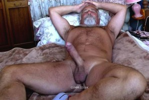 silver daddy erect in bed