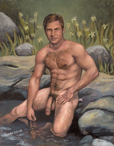 chris-mann-Harrison-Ford-nude-hung-oil-painting