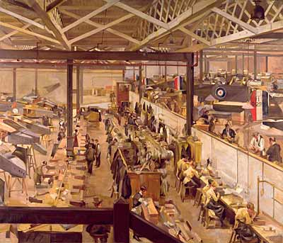 An Aircraft Assembly Shop, Hendon, 1918