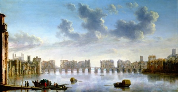 Old London Bridge, c 1630 by Claude Jongh