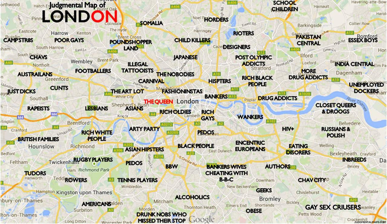 Map Of London With Neighborhoods.Humor The Judgemental Map Of London A Funny Map Of London