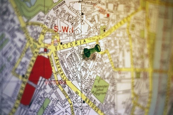 A pin on a map showing the location I'll be living in London.