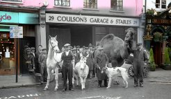 Stable companions appear in 'Song of the Drum' at the Drury Lane Theatre at Endell Street on December 30, 1933