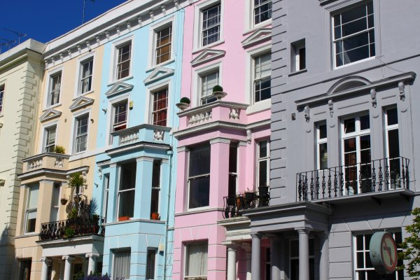 Colourful houses in Notting Hill district of London, UK