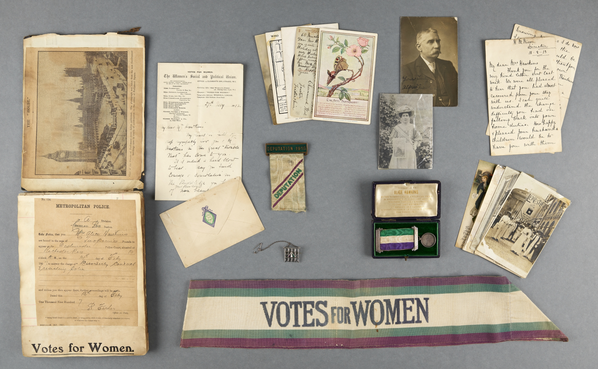 Items belonging to Alice Hawkins. Alice was a machinist at the shoe factory in Leicester. She was a socialist, trade unionist and WSPU campaigner. She was imprisoned five times for her role in WSPU protests.
