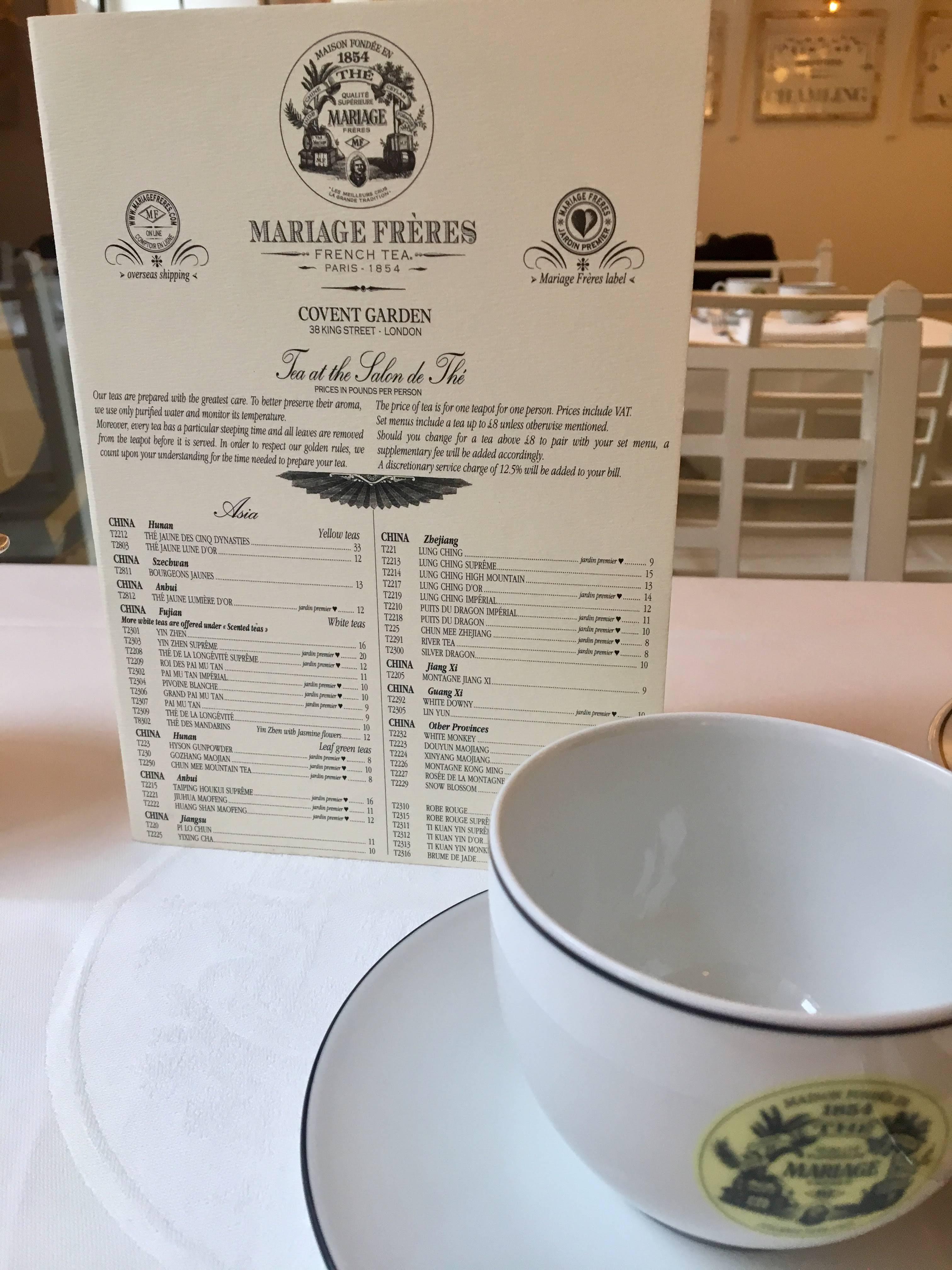 Mariage Frères - London tea salon