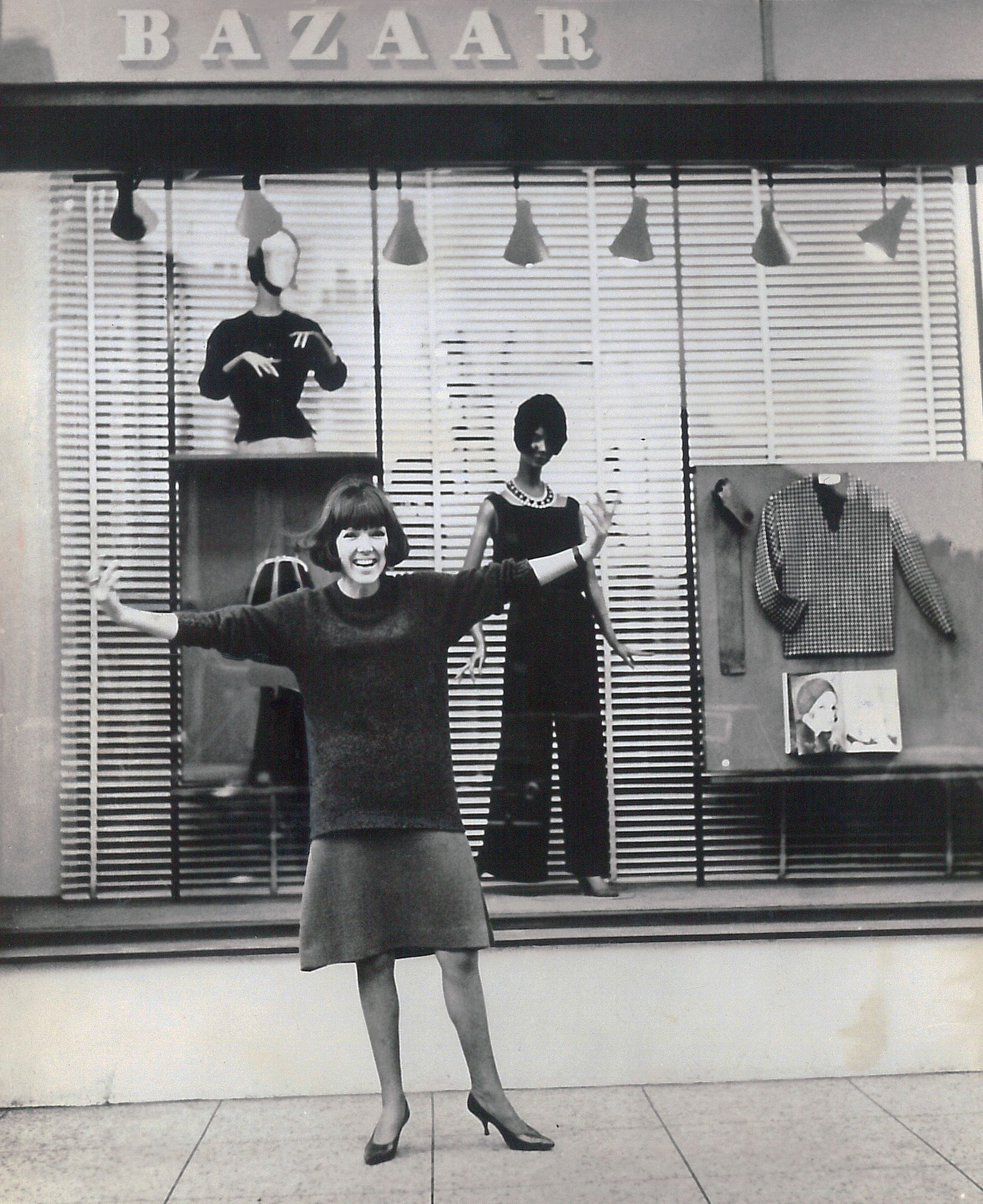Mary Quant outside her shop Bazaar on the Kings Road, 1960s