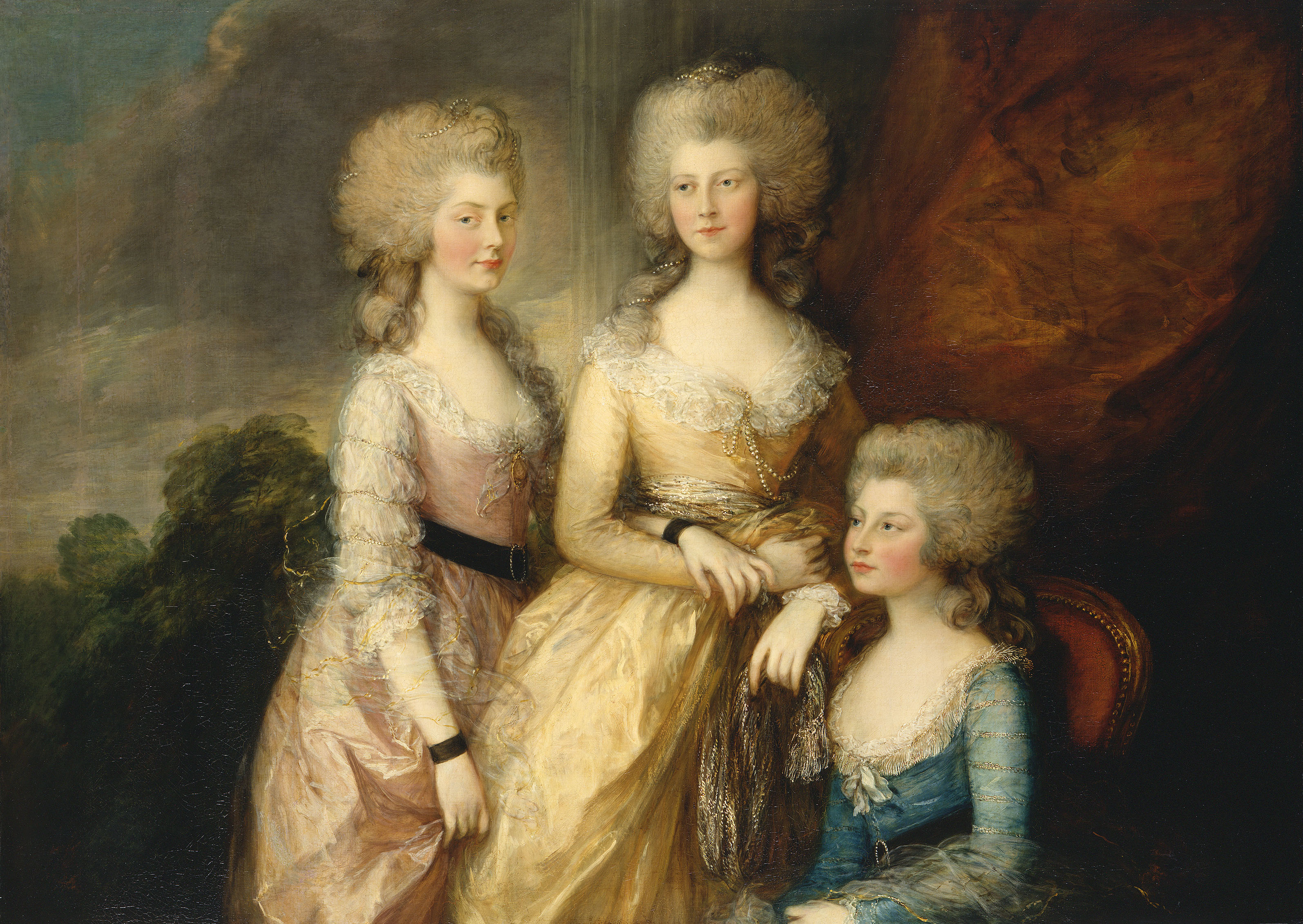 Thomas Gainsborough, The Three Eldest Princesses: Charlotte, Princess Royal, Augusta and Elizabeth, 1783-84