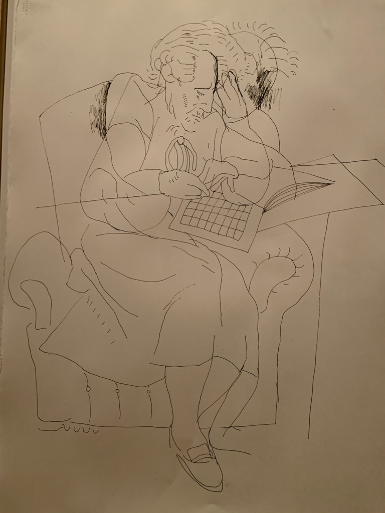 David Hockney - Mother with Crossword Puzzle June 1983