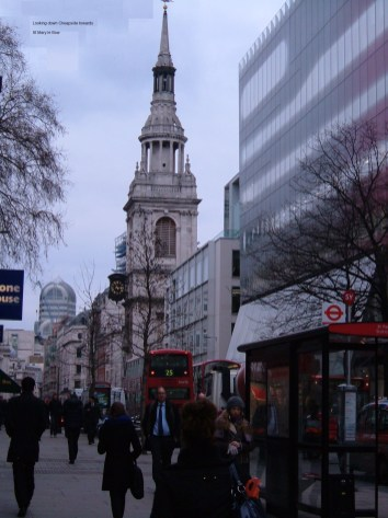 Looking down Cheapside towards St Mary le Bow