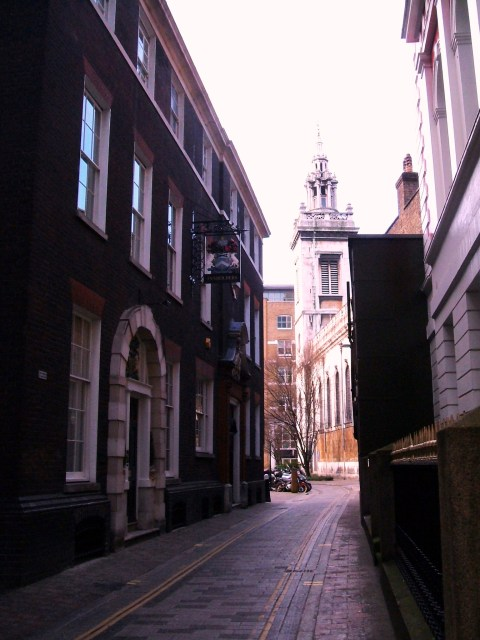 Innholders Company on the left, looking towards St Michaels Paternoster