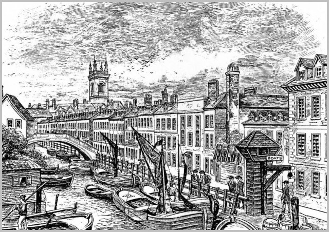 The Fleet River in 1700, with St Andrew Holborn in the background