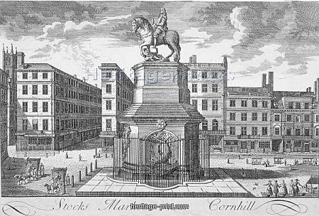 View of the Stocks Market, Poultry, looking from the west, City of London, 1700.