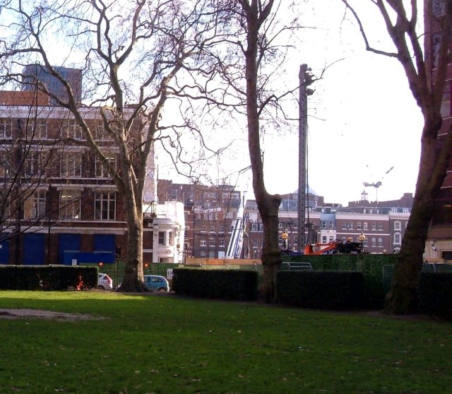 Building CrossRail next to Smithfield Market, looking from Charterhouse Square