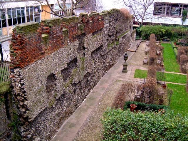 The London Wall in the Barbican, and on the site of St Alphage on the Wall