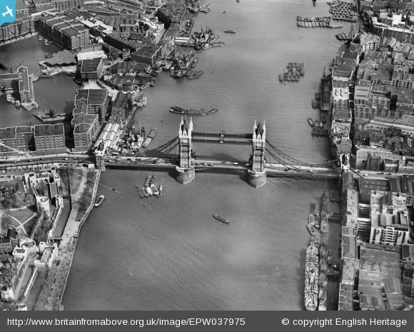 Tower Bridge with entry to St Katharine Dock at top left, 1932