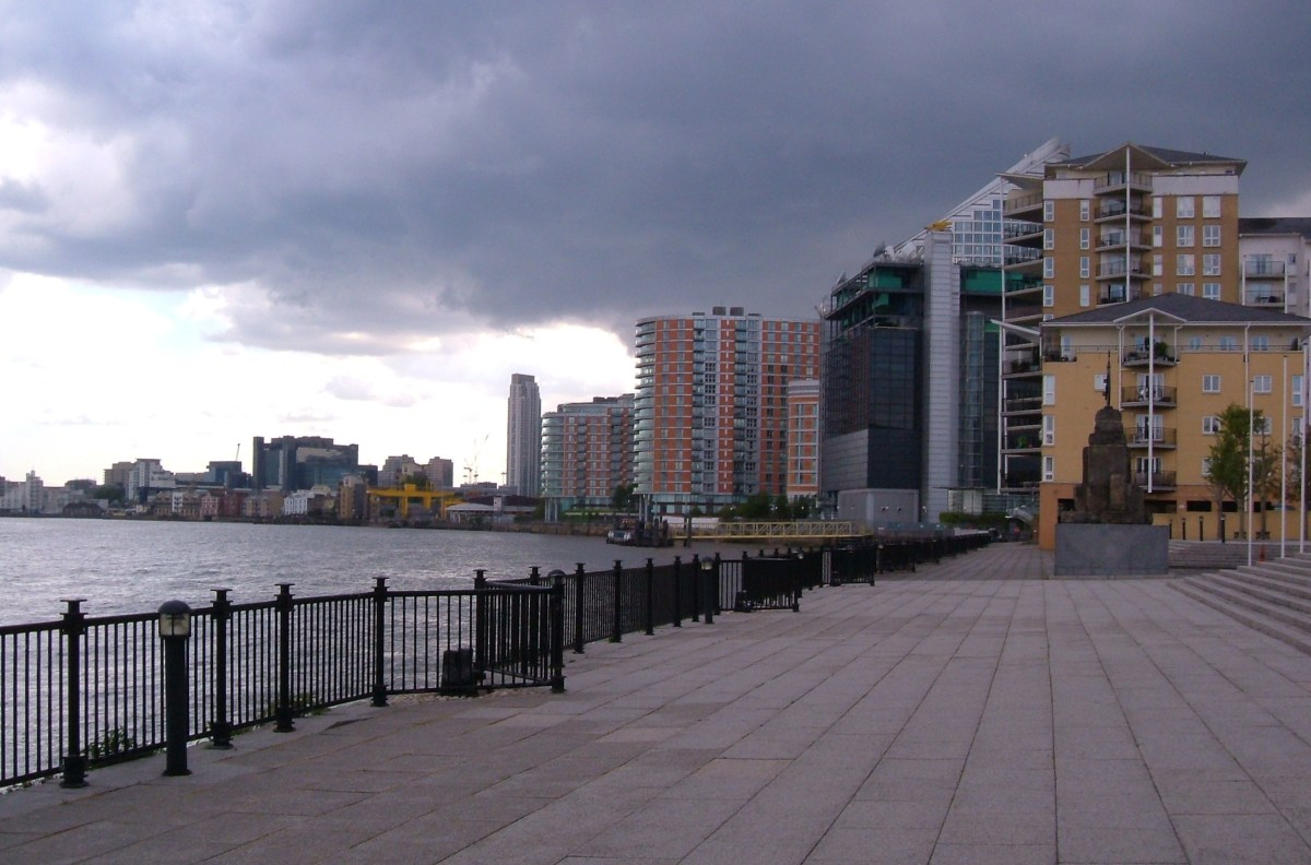 The site of Brunswick Wharf, now a promenade leading to a Barratts development