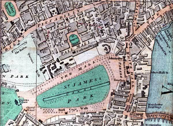 Smith's New Map of London, 1809, showing the Palace between the Mall and Pall Mall