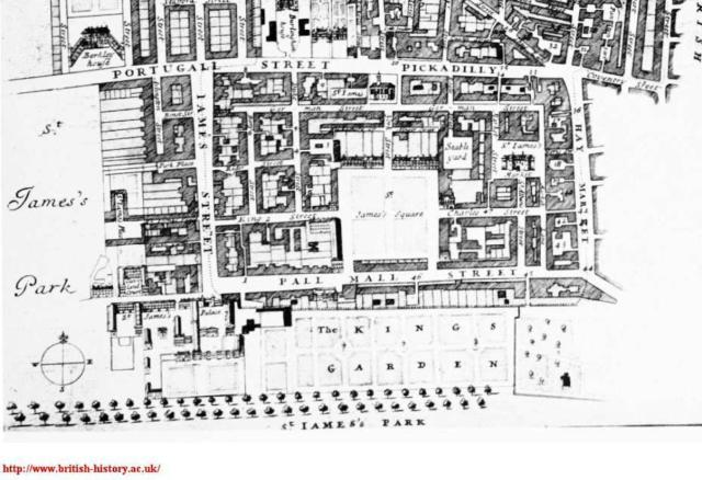 St James's Square, extract from Blome's map of 1689