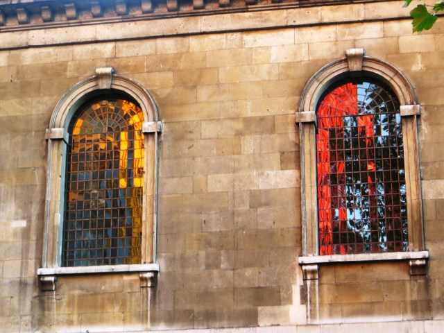 Reflections in the windows of St Giles