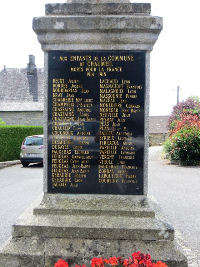 WWI Memorial in Chaumeil
