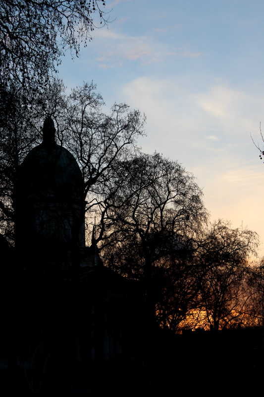 The Imperial War Museum in silhouette