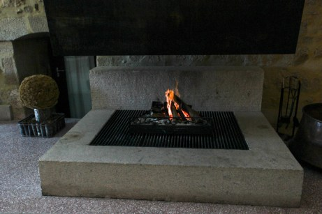 A welcome fire in the lounge, scenting the building