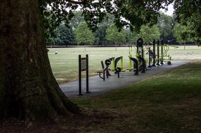 Outdoor gym in Southwark Park