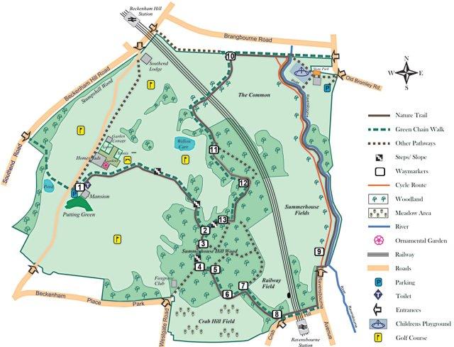 Beckenham Place Park (http://www.beckenhamplaceparkfriends.org.uk/naturetrail.html)